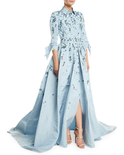 Tie-Sleeve Sparkle-Embroidered Trench Gown