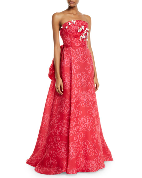 Carolina Herrera Strapless Floral-Embroidered Tie-Back Gown