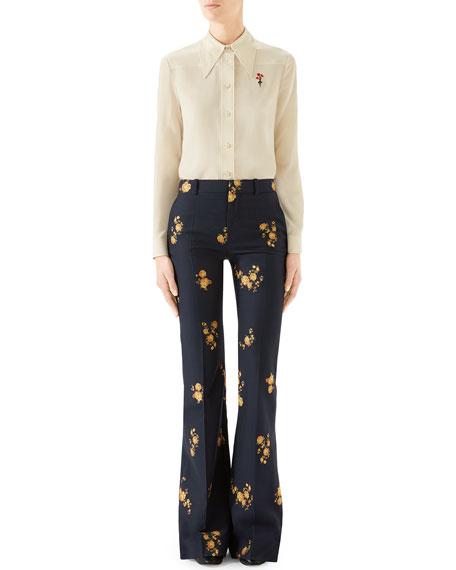 Gucci Camelia Bouquet Flare-Leg Pants