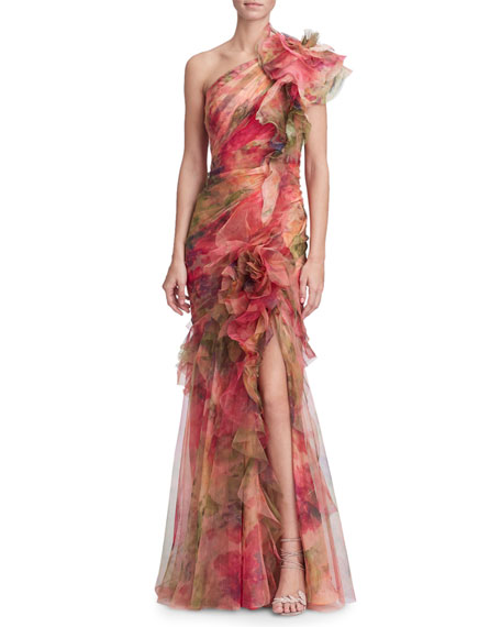 Marchesa One-Shoulder Fit & Flare Floral Organza Gown