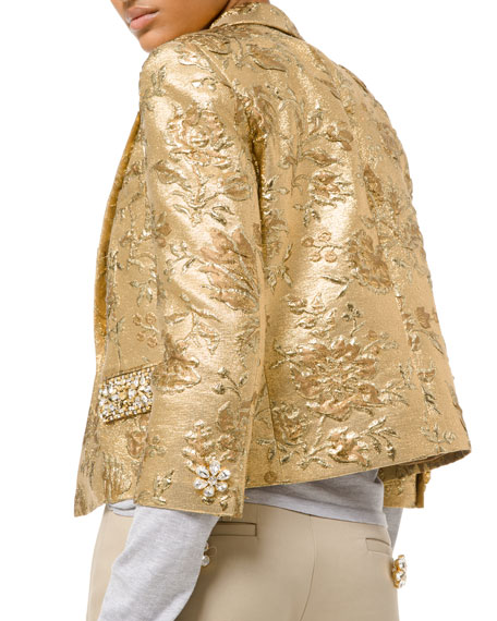 Michael Kors Collection Floral Metallic-Jacquard Embroidered Jacket