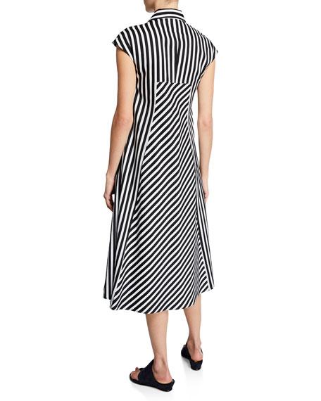 Piazza Sempione Cap-Sleeve Miter Striped Dress