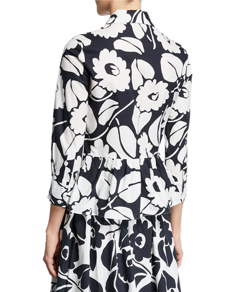 Piazza Sempione Tropical Floral Long-Sleeve Peplum Top
