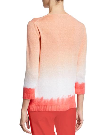 Piazza Sempione Linen Cotton Tie-Dye V-Neck Sweater