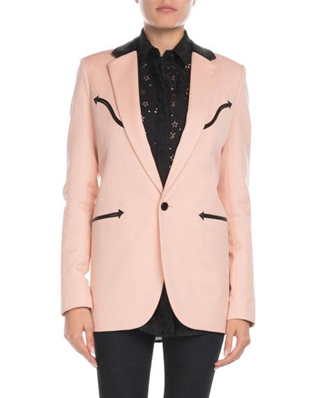 Saint Laurent Leather-Trim Western Blazer