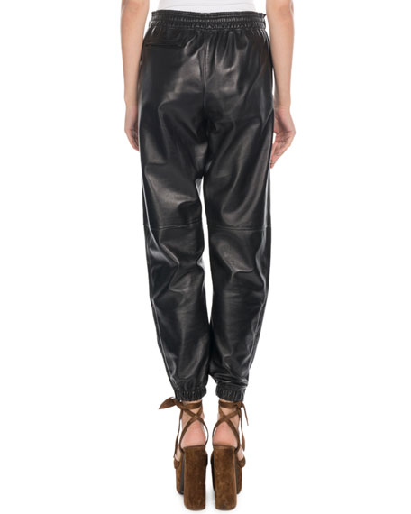 Saint Laurent Leather Jogger Pants