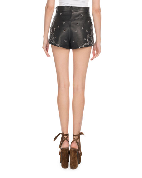 Saint Laurent High-Waist Bandana-Embroidered Leather Shorts