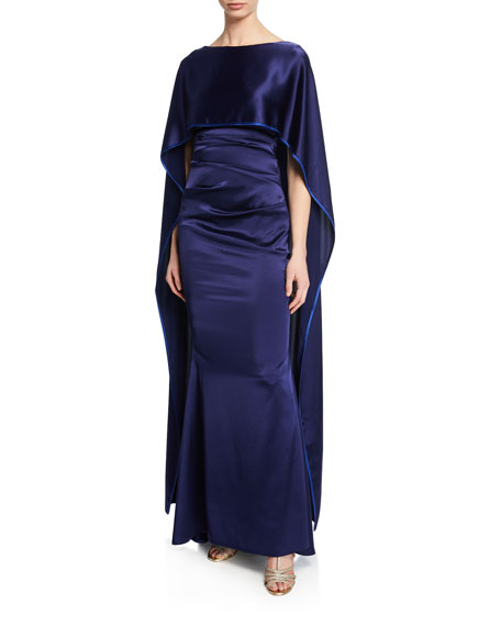 Talbot Runhof Satin Cape-Back Gown