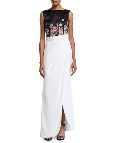 Floral-Embroidered Two-Tone Draped Gown