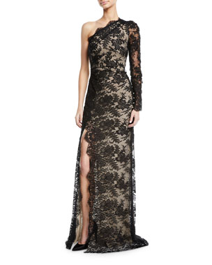 b3fd1bab85 Monique Lhuillier One-Shoulder Lace Overlay Gown