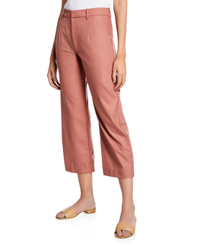 Flat Front Cropped Straight-Leg Pants