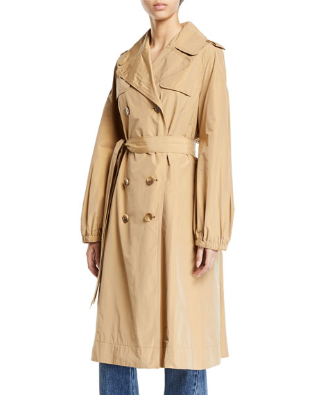 Co Double-Breasted Gathered Trench Coat