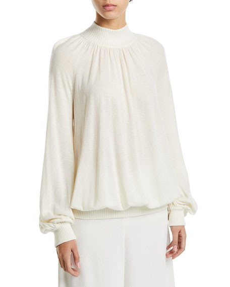 Co Cashmere Blouson-Sleeve Mock-Neck Sweater
