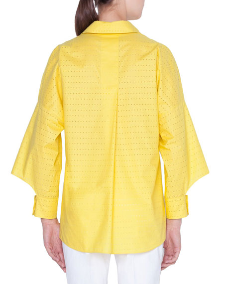 Akris punto Cotton Laser-Cut Kimono Blouse