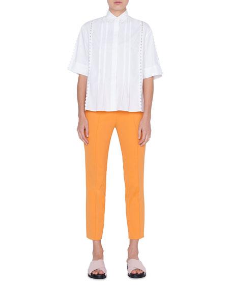 Akris punto Stretch-Cotton Kent-Collar Button Front Blouse, Cream
