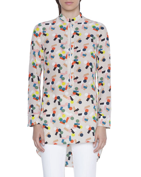 Akris punto Silk Mini Stand-Collar Tunic Blouse