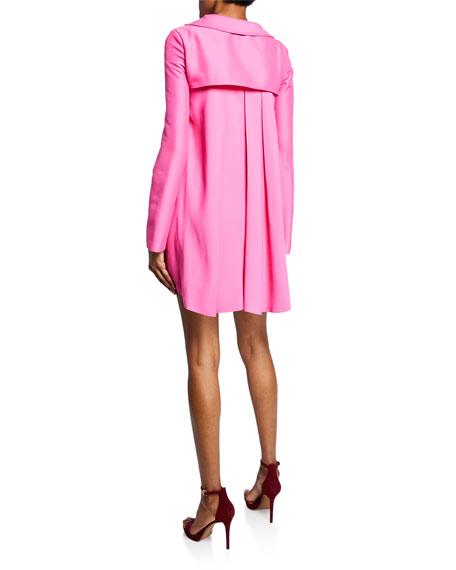 Brandon Maxwell Long-Sleeve V-Neck Faille Dress