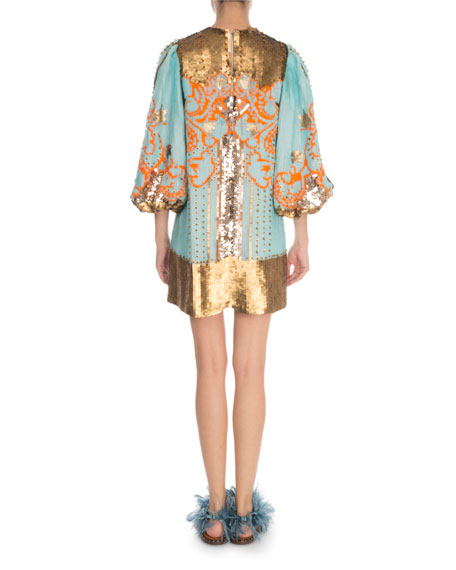 Valentino 1/2-Sleeve Sequin Embroidered