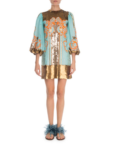 1/2-Sleeve Sequin Embroidered
