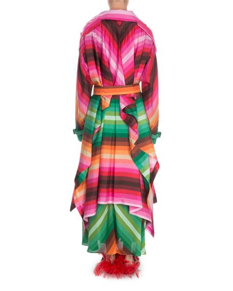 Valentino Striped Silk Trench Coat