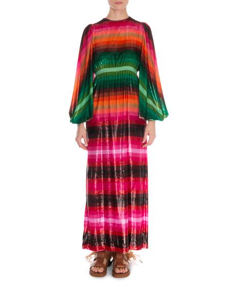 Valentino Long-Sleeve Striped Light Velvet Gown Dress