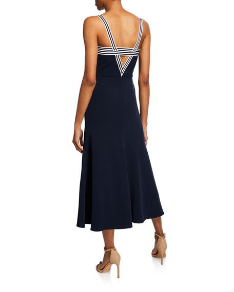 Lela Rose Striped-Trim Tie-Front Dress