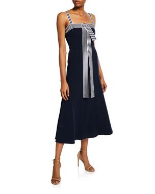 50efef5d42d7 Lela Rose Striped-Trim Tie-Front Dress