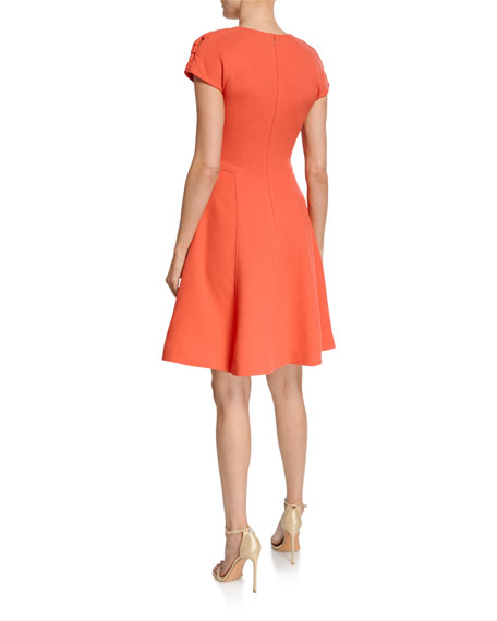 Image 3 of 3: Lela Rose Seamed Fit-and-Flare Dress