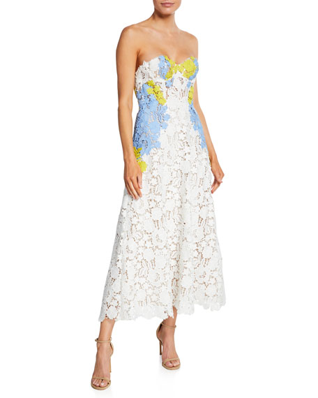 Lela Rose Lace Bustier Strapless Dress