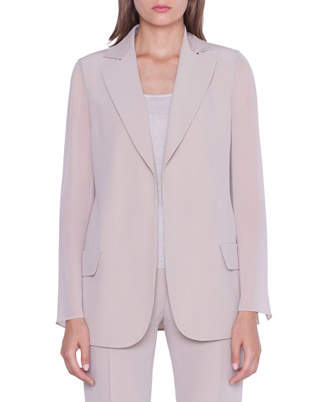 Akris Jackets ALEA CHIFFON-SLEEVE OPEN JACKET