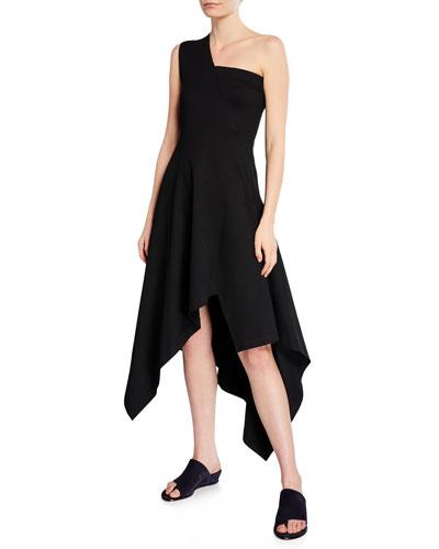 One-Shoulder Jersey Paneled Handkerchief Dress