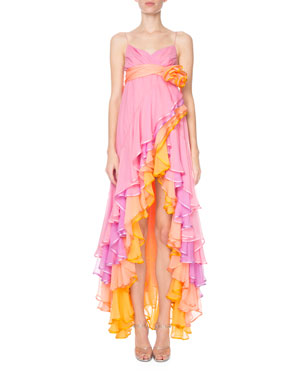 ea956fce6505 Marc Jacobs Tiered Cascading Chiffon Cocktail Dress
