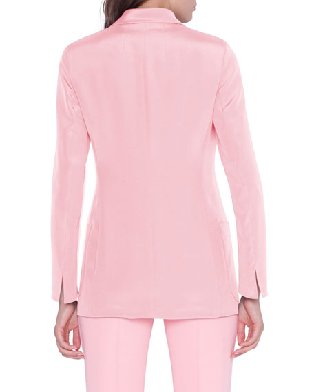 Image 2 of 3: Akris Amandine One-Button Silk Jacket