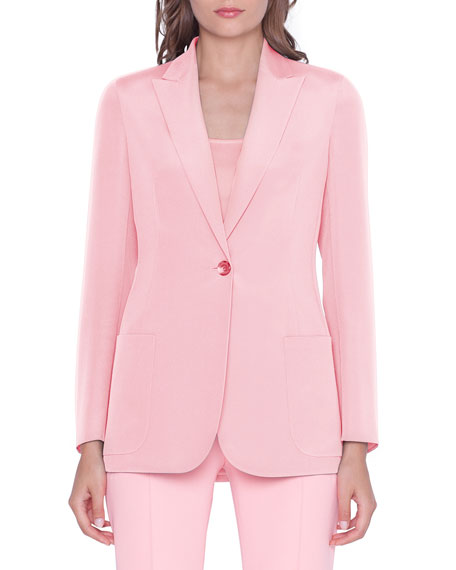 Image 3 of 3: Akris Amandine One-Button Silk Jacket