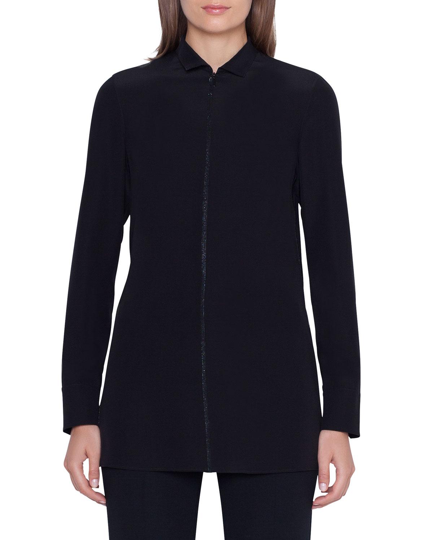 ad98eb772837e Akris Long-Sleeve Embellished Silk-Crepe Tunic