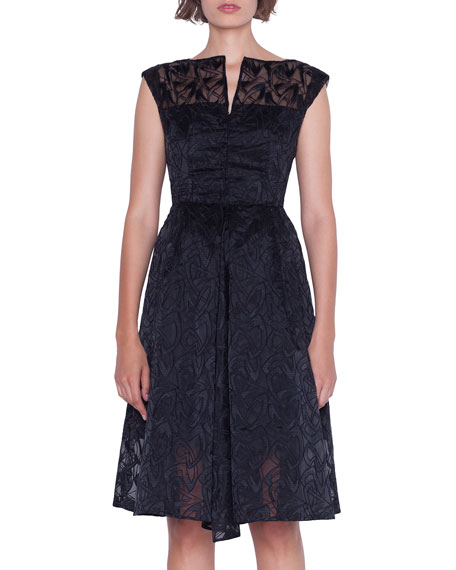 Image 3 of 4: Akris Cap-Sleeve Embroidered Organza Apron Dress