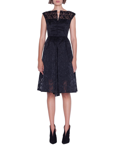 Image 4 of 4: Akris Cap-Sleeve Embroidered Organza Apron Dress