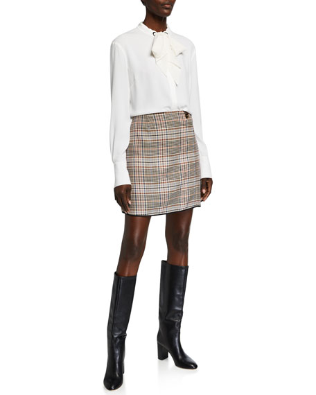 Image 3 of 3: Glen Plaid Straight Skirt