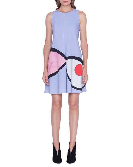 Akris Sleeveless Wink Print Dress