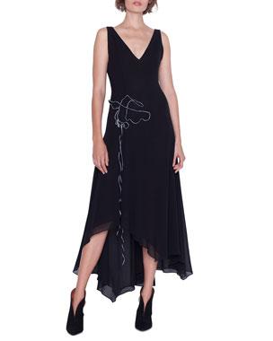 cfc11b247b Akris Sleeveless V-Neck Asymmetric Gown