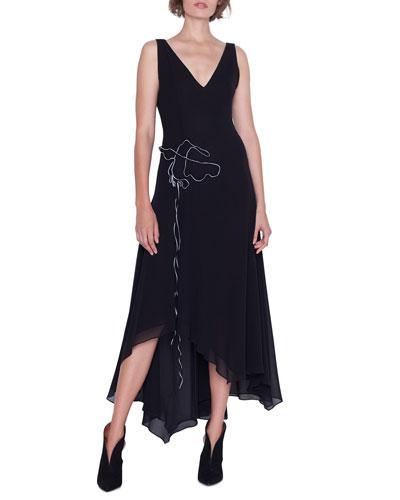 Sleeveless V-Neck Asymmetric Gown