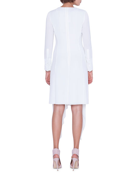 Akris Long-Sleeve V-Neck Asymmetric Hem Dress