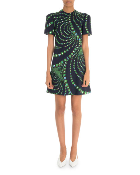 Givenchy Short-Sleeve Distorted Floral Print Mini Dress