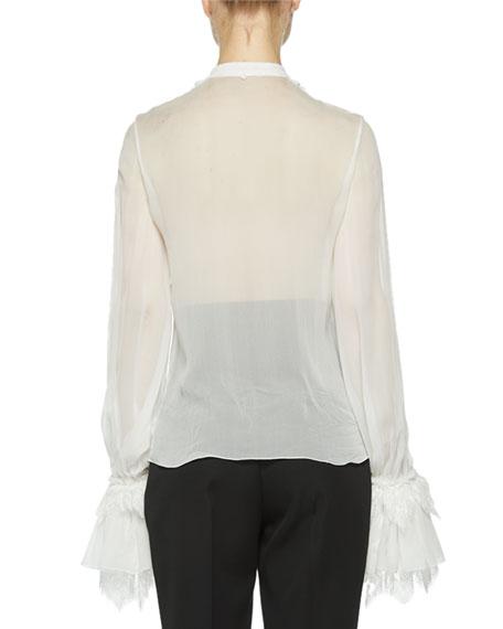 Saint Laurent Ruffle-Sleeve Button Front Blouse