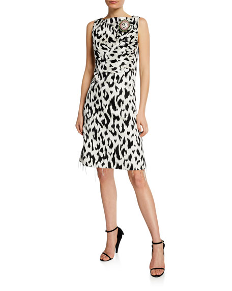Calvin Klein 205w39nyc LEOPARD-PRINT DRESS WITH CRUSHED BOW & CRYSTAL PIN