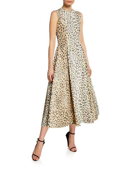 Calvin Klein 205w39nyc Dresses SLEEVELESS LEOPARD-PRINT SILK MIDI DRESS
