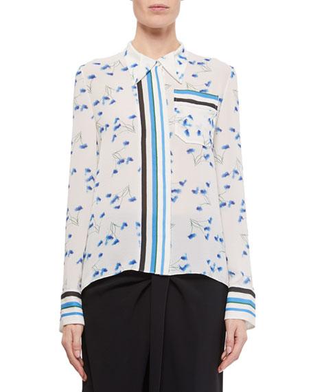 Roland Mouret Eugene Dandelion-Print Button-Front Shirt
