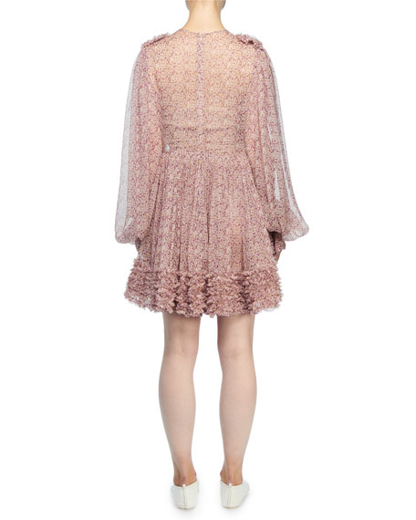 Stella McCartney Long-Sleeve Ditzy Floral Crinkle Silk Dress