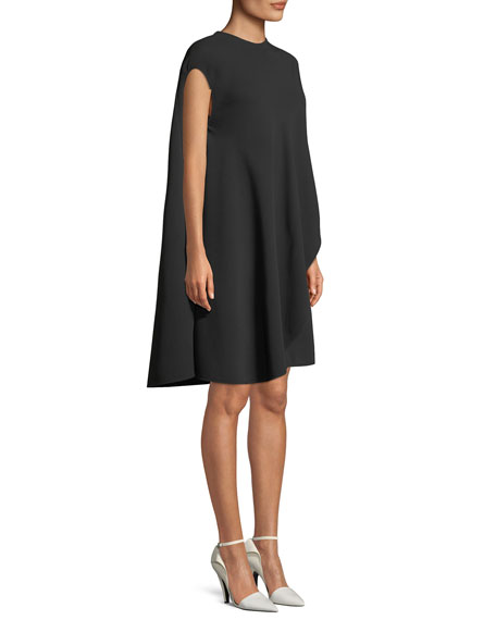 CALVIN KLEIN 205W39NYC Asymmetric Flowy Silk-Wool Cocktail Dress