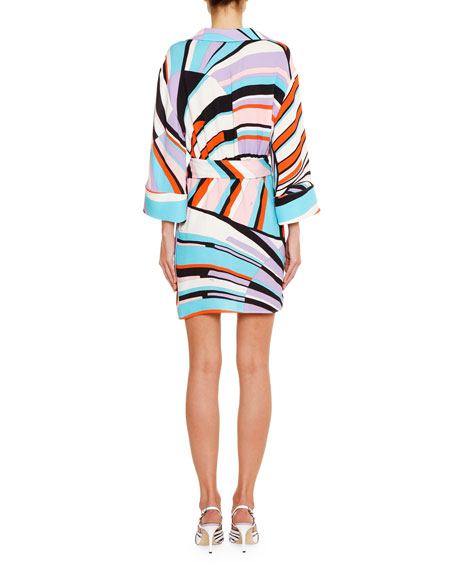 Emilio Pucci Striped Long-Sleeve Wrap Mini Dress